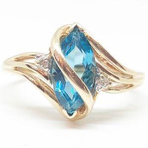 10k Yellow Gold Genuine Blue Topaz & Diamond Ring